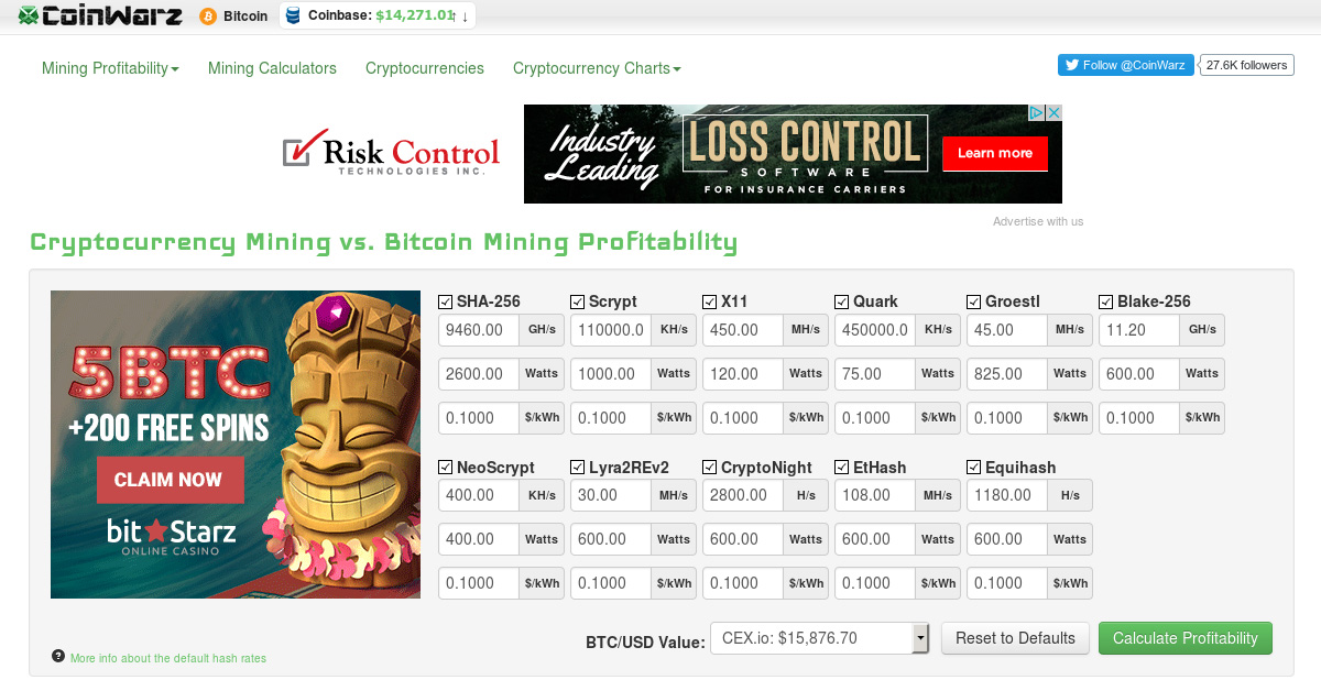 CoinWarz Mining Profitability Calculators