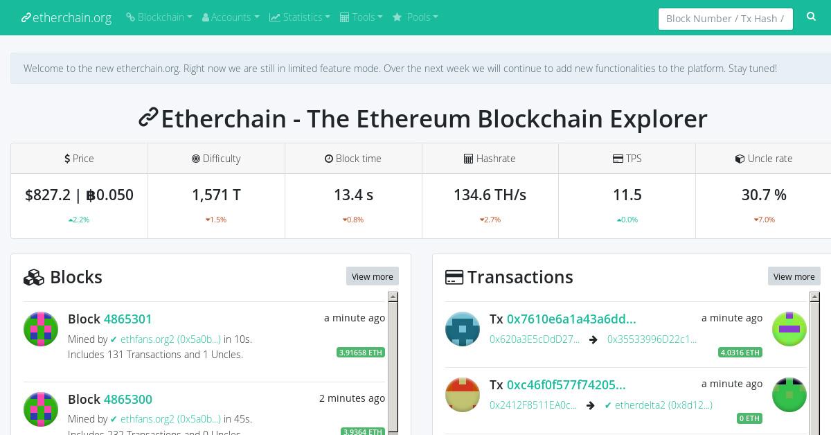 Etherchain - Ethereum Blockchain Explorer